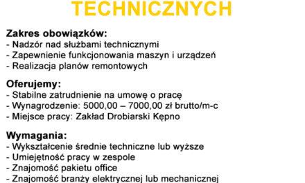 Praca: brygadzista do spraw technicznych