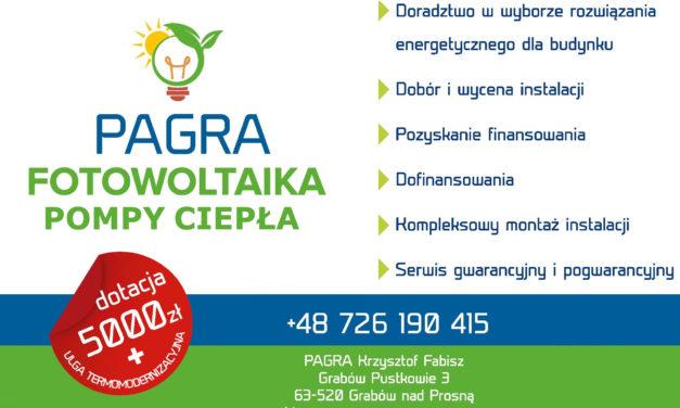 """Fotowoltaika """"PAGRA"""" zachęca do skorzystania z usług!"""