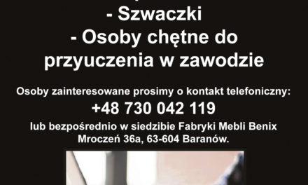 """Aktualne oferty pracy w Fabryce Mebli """"BENIX""""!"""