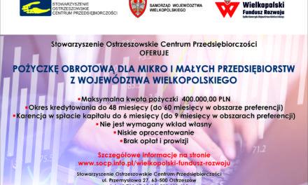 Pożyczka obrotowa dla mikro i małych przedsiębiorstw z województwa wielkopolskiego!