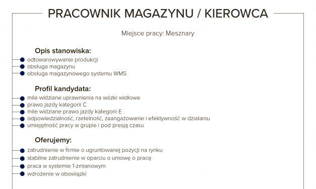 PRACA: PRACOWNIK MAGAZYNU/KIEROWCA