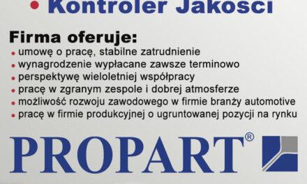 Firma Propart poszukuje pracowników!