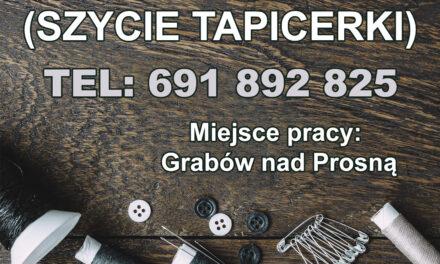 Praca dla szwaczek i tapicerów w Grabowie nad Prosną!