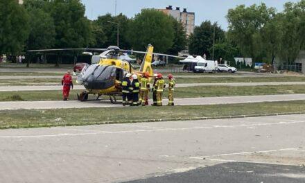 Wypadek w Ostrzeszowie. W akcji śmigłowiec LPR